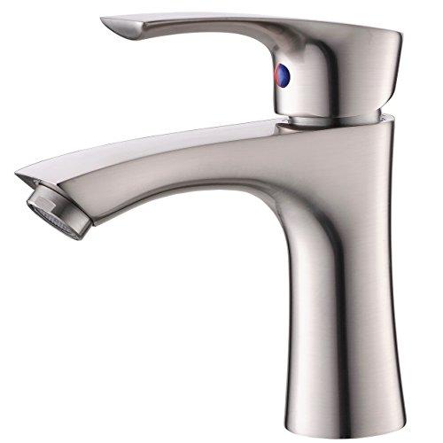 KINGO HOME Contemporary Stainless Steel Single Hole Lavatory Single Handle Brushed Nickel Bathroom...