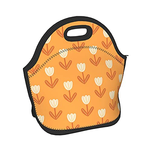 Scandinavian Style Tulip Flowers Shapes Pattern Women Men Kids Lightweight Insulated Neoprene Lunch Bag Boxs,Durable Thermal Tote Bag Organizer Cooler Bento Bags Lunchbox Handbag For Work School