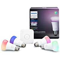 Philips Hue White & Color Ambiance A19 LED Smart Bulb Starter Kit (4-Pack A19 Bulbs and 1 Hue Hub) - Factory Reconditioned