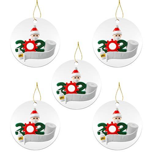 Covid Christmas 2020 Ornaments,Personalized Quarantine Survivor Family of 5 Pandemic Christmas Ornament...