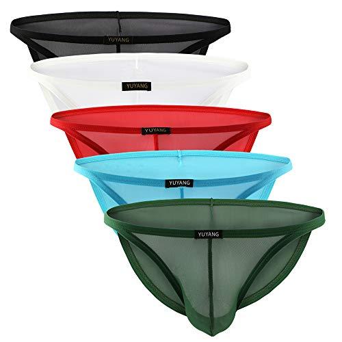 Billtop Men's Sexy Transparent Briefs Low Rise See Through Underwear 5 Pack