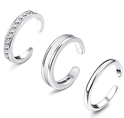 YADOCA 3 Stücke 925 Sterling Silber Offener Ringe Verstellbare Zehenringe Mode Minimalistischer Ring Toe Ring Midi Ring Sets Knuckle Ring für Damen Mädchen