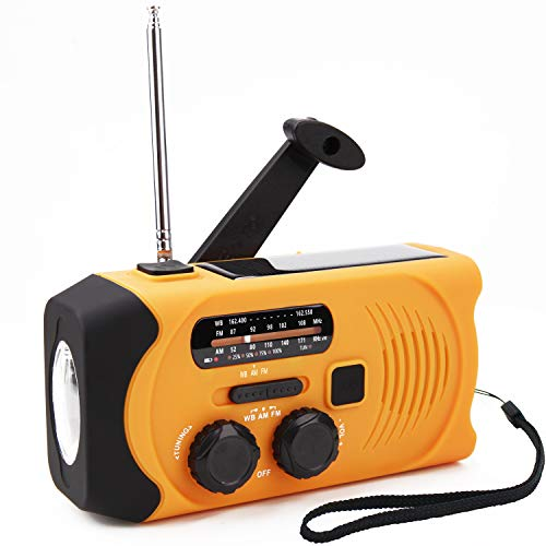 [Upgraded Version] Emergency Solar Hand Crank Portable Radio, NOAA Weather Radio for Household and Outdoor Emergency with AM/FM/WB, LED Flashlight, USB Charger, 2000mAh Power Bank and SOS Alarm.