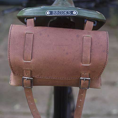 Piel auténtica caja de bolsa de sillín/manillar antiguo marrón para bicicleta herramientas