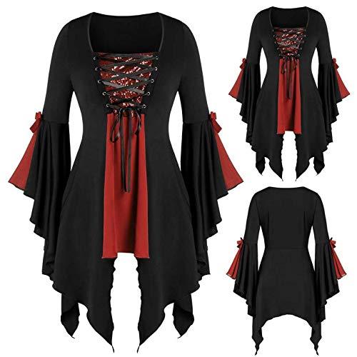 Frauen Plus Size Langarm Tops Pailletten Bluse Schnür Gothic Tunika T-Shirt...