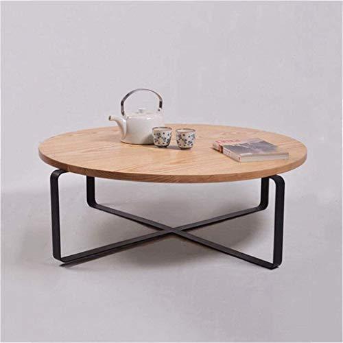 Mesa auxiliar, mesa auxiliar, mesa de centro, mesa de sofá, mesa de té redonda de madera maciza de hierro forjado Mesa de centro, mesa de sofá para zona de espera, muebles de sala, mesa de comedor