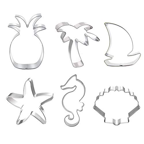 Beach Themed Cookie Cutter Set - Set of 6 - Palm Tree Starfish Seashell Seahorse Sailboat and Pineapple - in Durable Stainless Steel