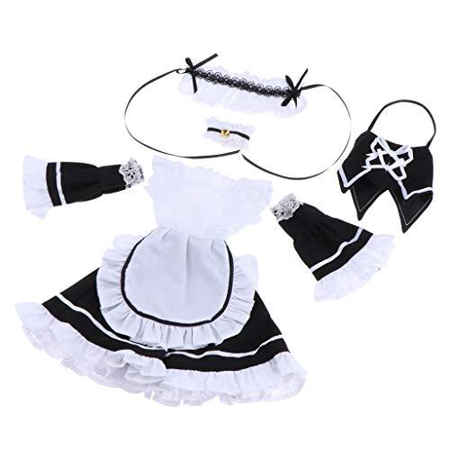 D DOLITY Fashion Puppenkleidung Maid Uniform / Freizeitkleidung Outfit für 1/4 Bjd Kugelgelenk Puppe Dress Up - # B