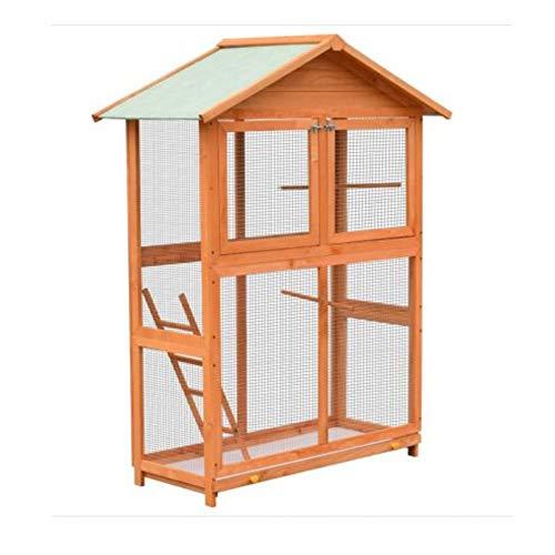 MYPETS® Vogelkäfig groß XXL168cm + Reinigungsset - Vogelvoliere mit Schmutzwanneneinsatz - Vogelhaus für Sittiche mit Sitzstangen für Drinnen und Draußen aus Holz