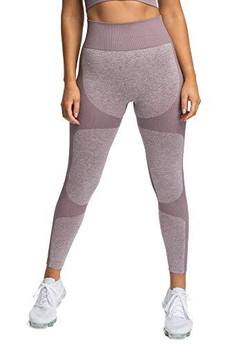 Pau1Hami1ton Sin Costura Leggins Mujer, Mallas Fitness Push Up Pantalones Deporte Running Yoga GP-15(Brown,S)