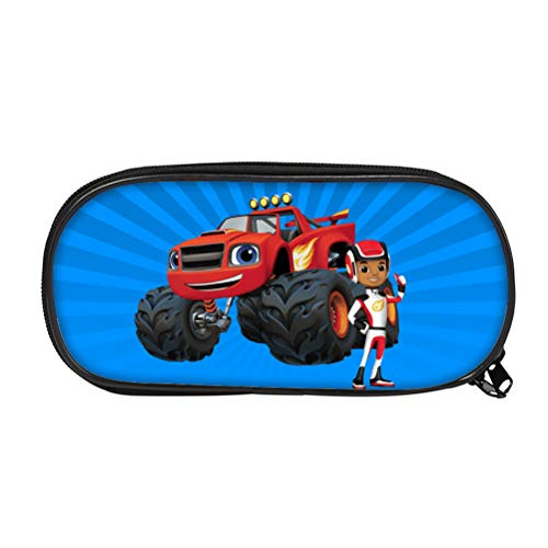 Blaze and The Monster Machines Creative Pencil Case Large Capacity Cosmetic Bag Canvas Pencil Case for Students Basic Pencil Bag Suit for Anyone Printing Pretty Storage Bag Kids