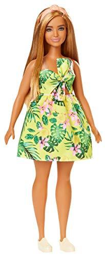 Barbie Fashionistas poupée mannequin #126 aux cheveux châtains avec robe tropicale jaune à fleurs et baskets blanches, jouet pour enfant, FXL59