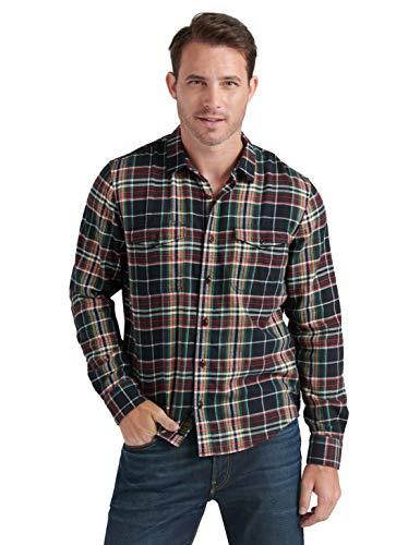 Lucky Brand Herren Long Sleeve Up Redwood Workwear Shirt Button Down Hemd, Black Plaid, X-Groß