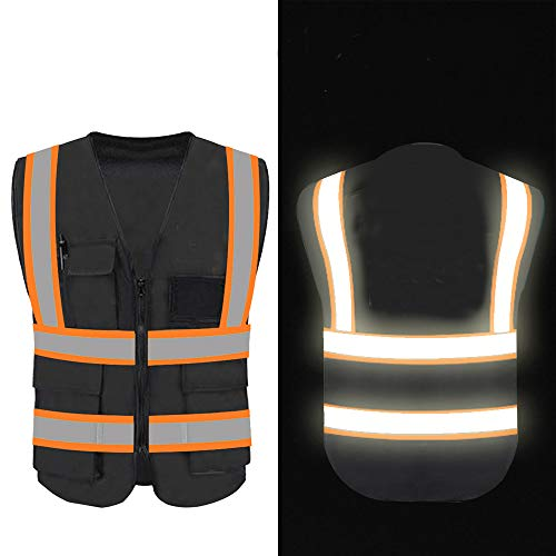 High Reflective Visibility Safety Vest Protective Safety Workwear with Reflective Strips and Front Zipper (Black(Orange Webbing)-Medium)
