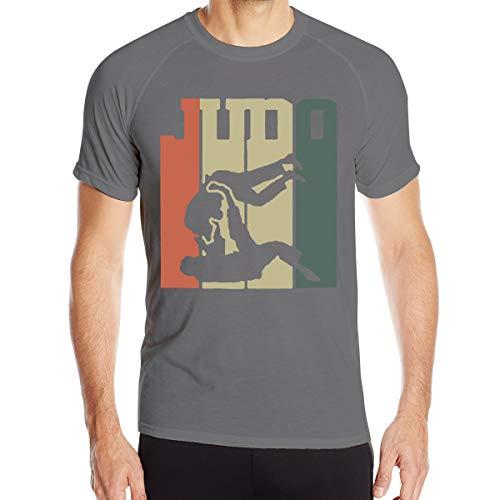 Mary S West Judo rétro Vintage en Japonais T-Shirt à séchage Rapide pour Hommes T-Shirt Militaire Hommes Camping en Plein air Chemises de randonnée à Manches Courtes