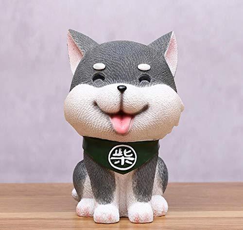 ARMAC Hucha creativa nueva resina de dibujos animados perro cajas de dinero regalo de cumpleaños para niños decoración del hogar (gris)