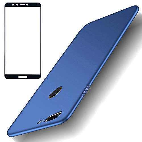 BLUGUL Coque Honor 9 Lite + Verre Trempé, Ultra Mince, Entièrement Protecteur, Sensation de Soie, Écran Protecteur et Dur Housses pour Huawei Honor 9 Lite Bleu
