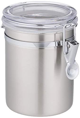 パール金属 保存容器 18-8 ステンレスキャニスター 密封びん 透明カバー 880ml スリム ロック式 サティーナ HB-3798