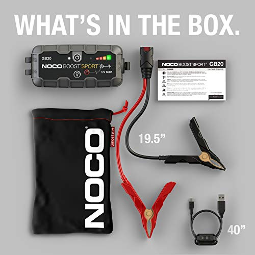 NOCO Boost Sport GB20 500 Amp 12-Volt UltraSafe Portable Lithium Car Battery Booster Jump Starter Power Pack For Up To 4…