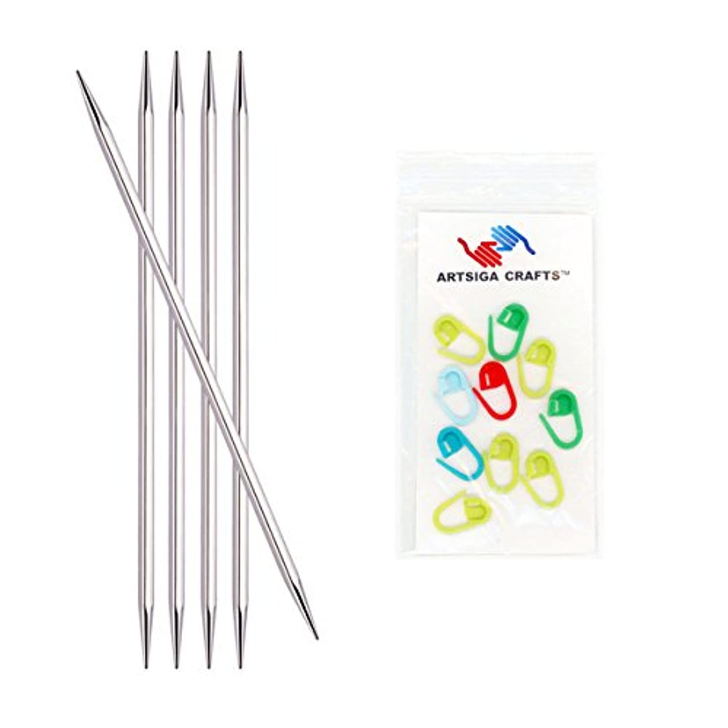 Knitter's Pride Nova Cubics Platina Double Point 5-inch (12.5cm) Knitting Needles (Set of 5) Size 1 (2.25mm) Bundle with 10 Artsiga Crafts Stitch Markers 320102