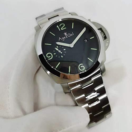 JFfactory Luxury Men Automatico Meccanico in Acciaio Inox Quadrante Numero Verde 3 Giorni 1950 Orologio Luminoso 44 MM Fondo in Vetro