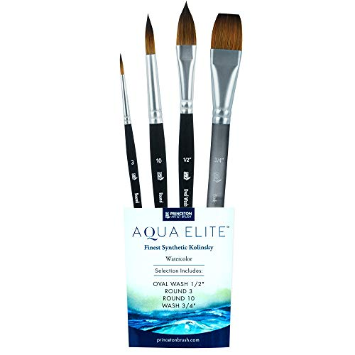 Princeton Aqua Elite Professional Watercolor Brushes 4850 Series - 4pc Synthetic Kolinsky Sable Brush Set for Watercolor and Oil - Round 3 - Round 10 - Oval Wash ½ Inch - Oval Wash ¾ Inch