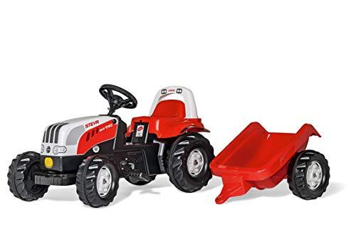 Rolly Toys 012510 - rollyKid Steyr 6165 CVT Trettraktor (mit Anhänger, für Kinder ab 2,5 Jahre, Flüsterlaufreifen, Überrollbügel)