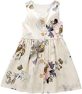 Vintage Girl Dress Floral Print Sleeveless