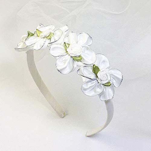 zhiwenCZW Diadema de malla de velo de malla para niñas, con purpurina en polvo, corona de flores artificiales, para primera comunión
