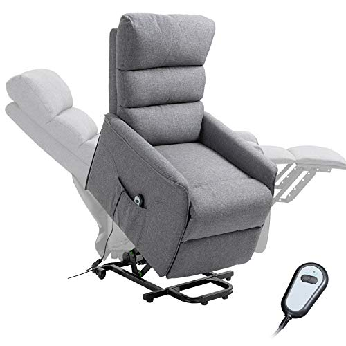HOMCOM Power Lift Assist Recliner Chair for Elderly with Wheels and Remote Control, Linen Fabric Upholstery Grey