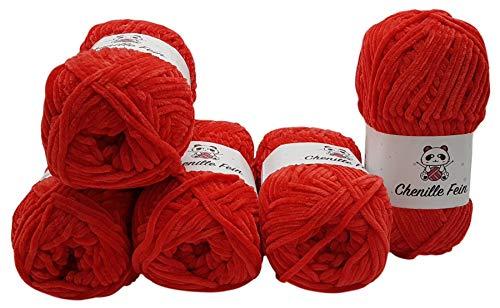 Ilkadim 5 x 100 Gramm Chenille Fine Strickwolle, Babywolle, 500 Gramm Wolle Super Bulky (rot 300-08)