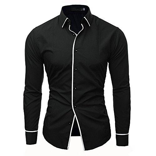 Carol -1 Herren Hemd aus Bambusfaser umweltfreudlich Elastisch Slim Fit für Freizeit Business Hochzeit Reine Farbe Hemd Langarm Herren-Hemd