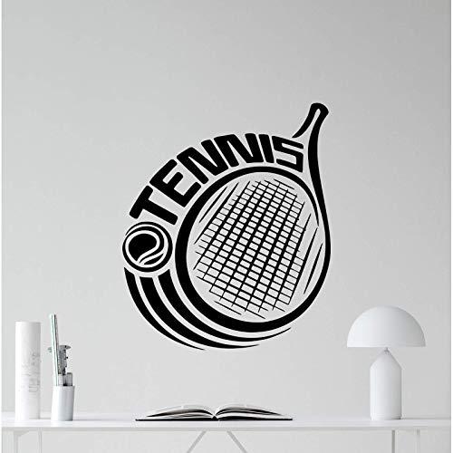 AGiuoo Vinilo adhesivo para pared con logo de raqueta de tenis y deportes, para decoración de gimnasio, póster artístico para dormitorio de niños, 114 x 134 cm