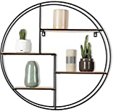 Intimo Living schwarzes Industrial Wandregal aus Holz und Metall - Edles, rundes Regal für die Wand für Bücher, Deko, Küche und Badezimmer - 55 x 11 cm Hängeregal - Schweberegal