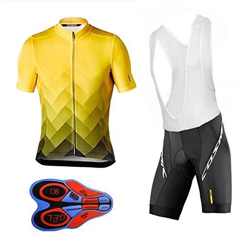GET Completo da Ciclismo Uomo Abbigliamento da Ciclismo Maglia Manica Corta, Kit Uniforme Pantaloncini Estivi Tuta Mountain Bike (Colore : E, Taglia : L)