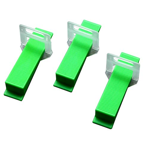 DGOL Thick Tiles Leveler Spacers Tile Leveling System Green Wedges 100pcs and Strong Clips 200pcs 1/16 inch (1.5mm)
