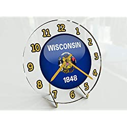 FanPlastic States and Territories of The USA Desktop/Shelf Clocks - Brand New and Unique Circular State Flag Designs - Size 7 X 7 X 2 !! (Wisconsin Flag Desktop Clock)