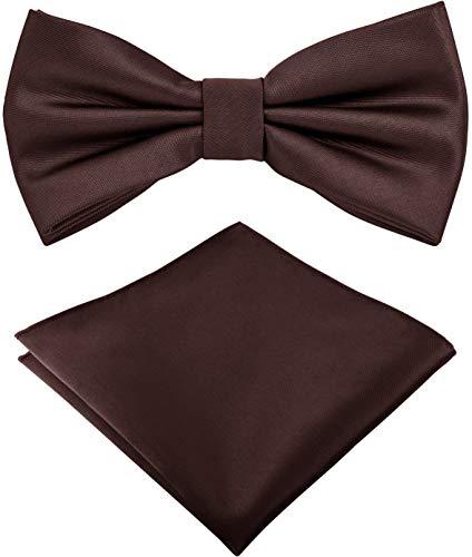Helido Fliege für Herren mit Einstecktuch, 12 verschiedenfarbige Accessoires-Sets passend zu Hemd und Anzug oder Smoking + Geschenkbox (Braun)