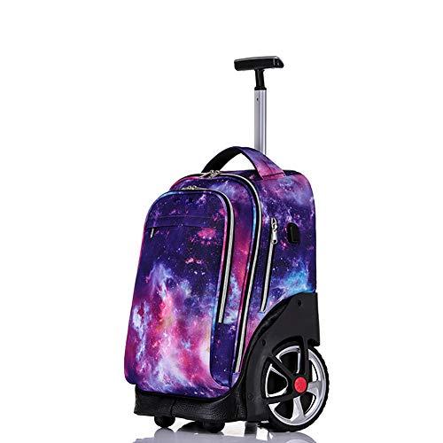 Bvc Trolley-Schultaschen Wasserdichter Nylon-Rucksack Mode Geschäftsreise Rucksack Mit Rädern Für Jungen Mädchen,A