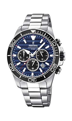 Festina Herren Chronograph Quarz Uhr mit Edelstahl Armband F20361/3