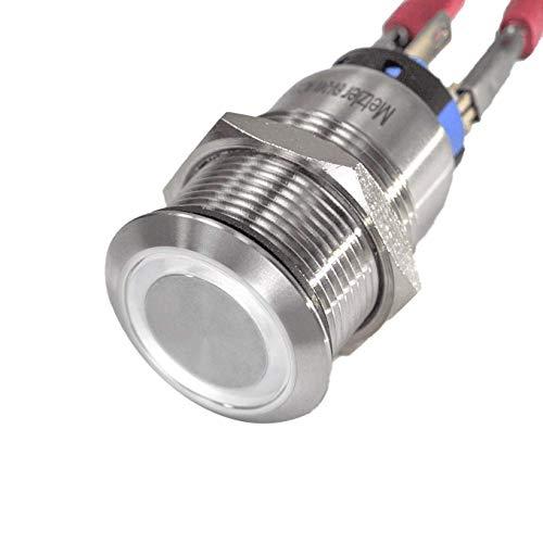 LED-Schalter/Druckknopf Edelstahl - rastend Ø 19 mm - staub- und wasserdicht – stabil & wetterfest - 230V AC - M19 Gewinde (Weiß)