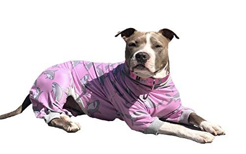 pound for pound boxer evers Tooth and Honey Pitbull Pajamas/Pink Shark Print Dog Onesie Jumpsuit/Lightweight Pullover Pajamas/Full Coverage Dog Pjs/Pink Color with Grey Trim