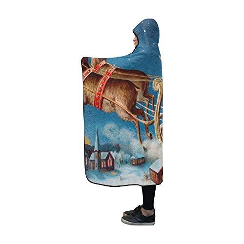 LONGYUU Mit Kapuze Decke Sankt Sein Pferdeschlitten, der über schläfrige Decke 60x50 Zoll Comfotable mit Kapuze Wurf-Verpackung fliegt