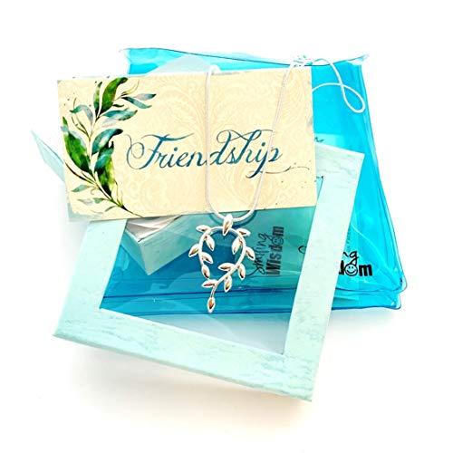 Smiling Wisdom - Vine Leaf Necklace Friendship Gift Set - Reason Season Lifetime Friend Message - Unique Appreciation Gifts For Encouraging Bestie BFF Woman Lifetime Friend - .925 Silver Plated