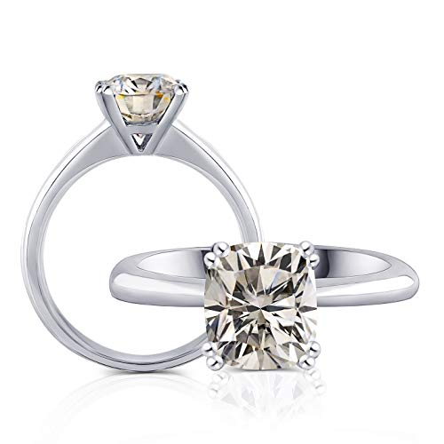 2ct 7X8mm HI Color 2.8mm Band Width Cushion Cut Moissanite Engagement Solitaire Ring for Women Platinum Plated Silver (5)