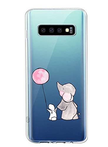 Suhctup Coque Compatible avec Samsung Galaxy S10 5G,Ultra-Mince Souple Gel Coque Souple TPU Silicone [Shock-Absorption] Souple Solide Resistant Fine Protection Housse Etui Transparente Motif Tendance