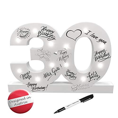 CREOFANT ® XL Gästebuch 30 Geburtstag Deko mit LED Beleuchtung 37 cm x 24 cm · Tischdeko Geschenkidee 30. Geburtstagsgeschenk batteriebetrieben inkl. Stift schwarz