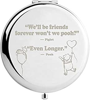 Muminglong Inspirational Winnie the Pooh Quotes and Saying Travel Beauty Makeup Mirror Gifts for Sister Friends Girls Daughter,Graduation Present for Her (sliver)