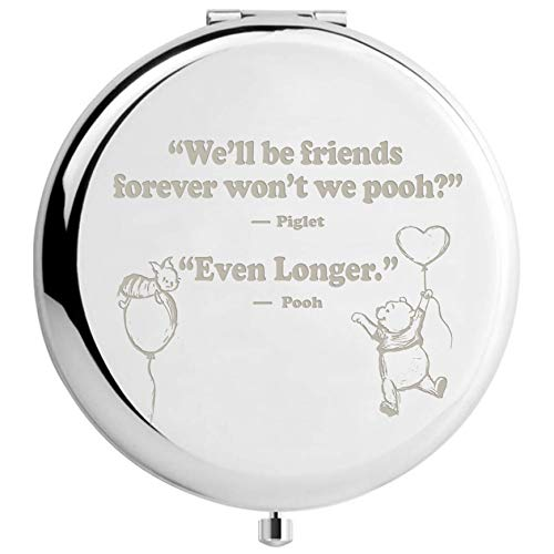 Muminglong Inspirational Winnie The Pooh Quotes and Saying Travel Beauty Makeup Mirror Gifts for Sister Friends Girls Daughter,Graduation Present for Her (Silver)