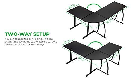 GreenForest L-Shape Corner Computer Office Desk PC Laptop Table Workstation Home Office 3-Piece,Black
